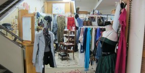 A fashion booth downstairs